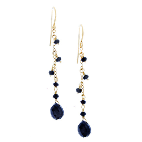 Black Onyx drop with chain and Black Onyx rondelles