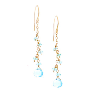 Light Apatite drop with chain and light Apatite drop