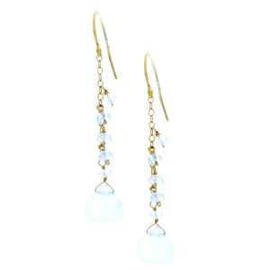 Moonstone drop with chain and Moonstone rondelles
