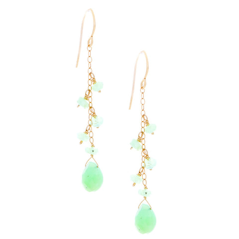 Chrysoprase drop with chain and Chrysoprase rondelles