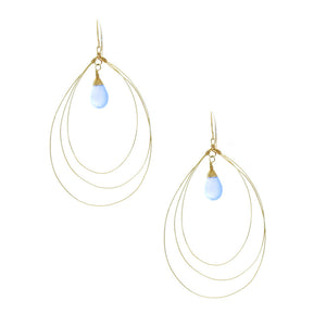 Lavender Blue Chalcedony Drop In 3 Layer Hoop