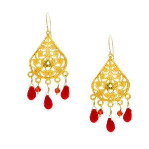 Dark Coral Drops Hang from Gold Filigree Chandelier