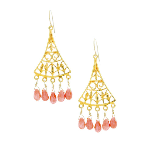 Light Coral Drops Hang from Gold Filigree Chandelier