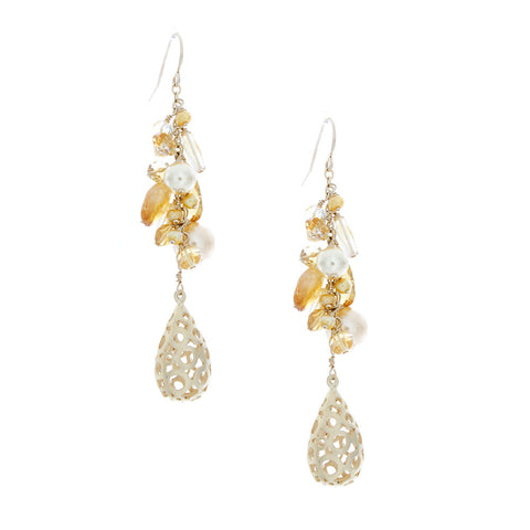 Citrine/Pearls with Gold Filigree Drop
