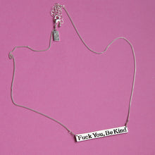 Fuck You, Be Kind Nameplate Necklace