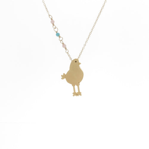 Medium Bird with Pink Coral and Turquoise