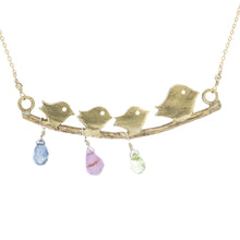 Mommy Necklace: Mama Bird and Her Babies on A Branch (Birthstones)