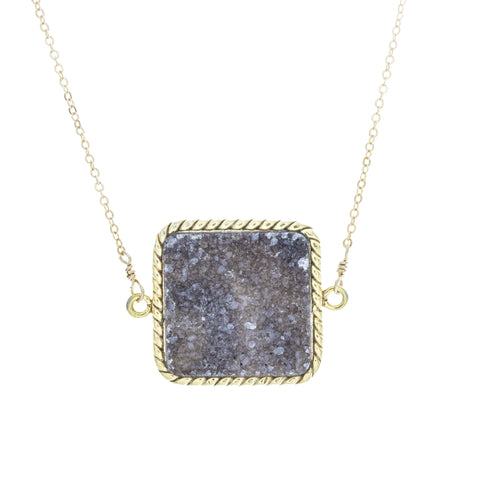 Large Square White and Charcoal Druzy