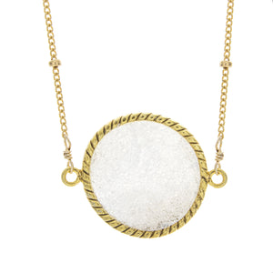 Large Round White Druzy with Beaded Chain