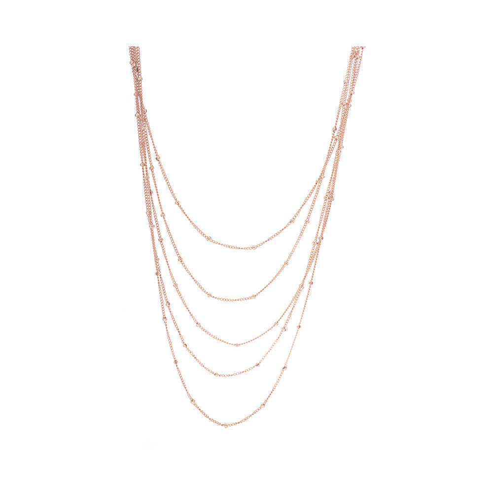 5 Strand Beaded Sterling Silver Chain