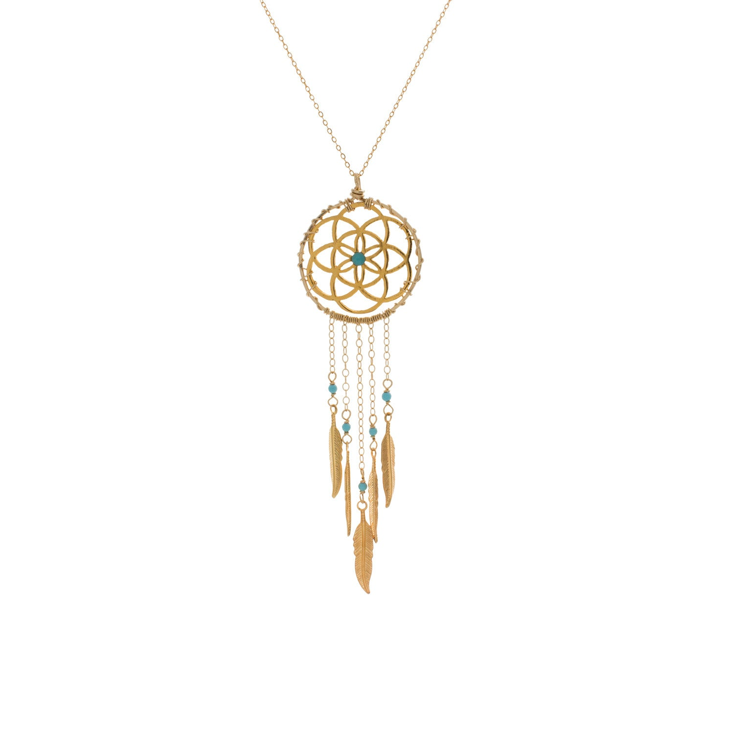 Gold Filled Turquoise Dream Catcher