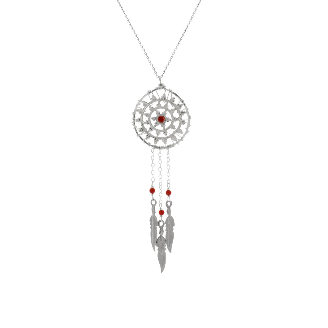 Silver Coral Dream Catcher