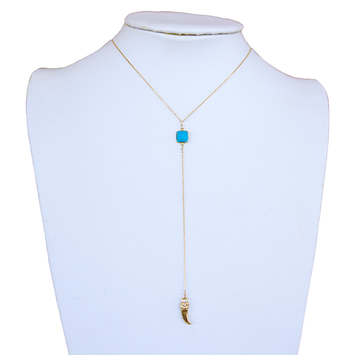 Turquoise Square Bezel Horn Y Necklace