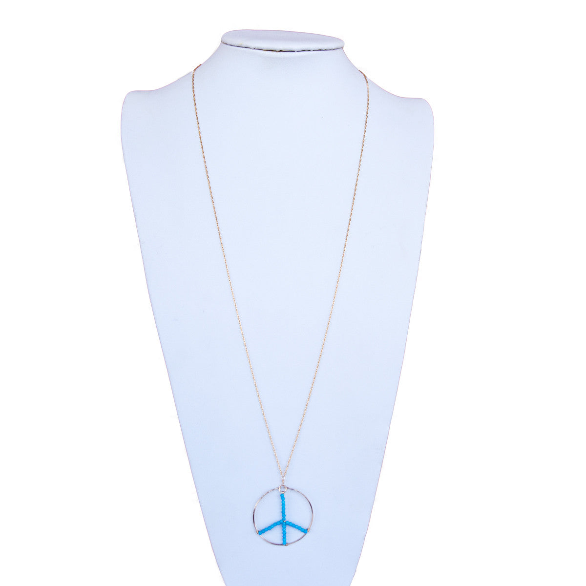Peace Sign with Turquoise on Long Chain