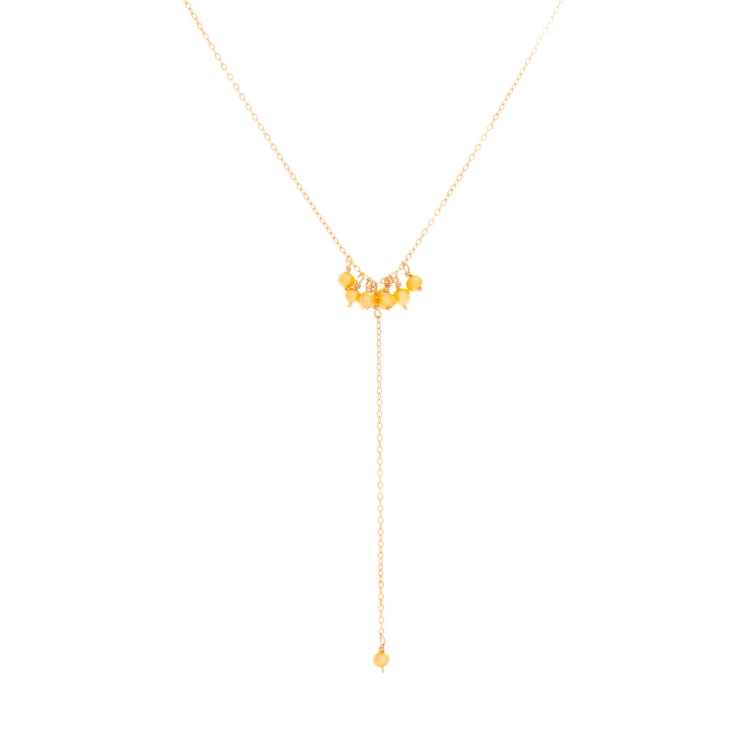 Small Yellow Pearl Dangles Y Necklace