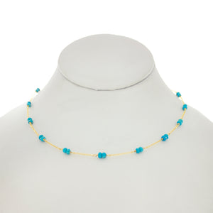 Arizona Blue - Turquoise Gems Between Chains Necklace