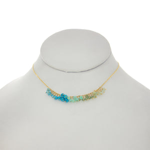Arizona Blue - Light Blue Green Rondelles Dangle Necklace