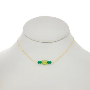 Shamrock Green - Oval Peridot with Green Onyx Necklace