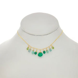 Shamrock Green - Green Onyx, Turquoise, Apatite, Aquamarine Drops Necklace