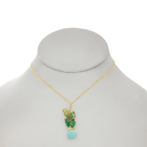 Shamrock Green -  Turquoise Drop Cluster Necklace