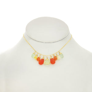 Orange & Lemon - Lemon Topaz, Orange Carnelian, Opal, Prenite Drops Necklace