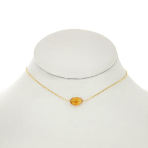 Sandalwood - Oval Citrine Necklace