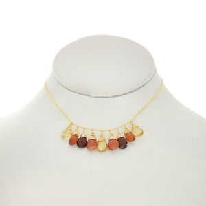 Sandalwood - Various Garnets, Citrine, Sunstone, Drops Necklace