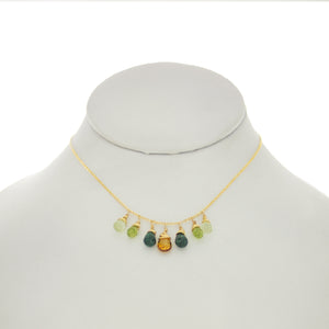 Cedar Green - Citrine, Emerald, Peridot, Prenite Drop Necklace