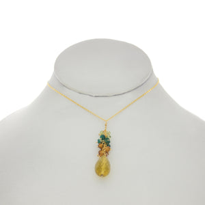 Cedar Green - Whiskey Topaz Drop Cluster Necklace