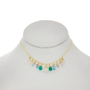 Sage Rose  - RoseQuartz, Green Onyx, Topaz, Apatite, Aquamarine Drops Necklace