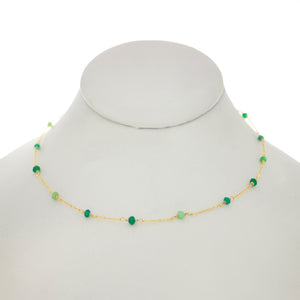 Jungle Green - Emerald, Chrysoprase, Green Onyx Between Chain Necklace
