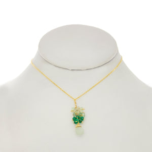 Seafoam Green - Aquamarine Drop Cluster Necklace