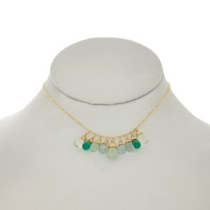 Seafoam Green - Aquamarine, Topaz, Green Onyx, Drops Necklace