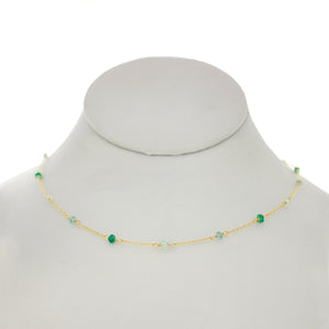 Seafoam Green - Green Onyx, Topaz, Chrysoprase Between Chain Necklace