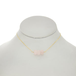 French Pink - Rose Quartz Bar Necklace