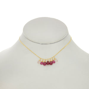 French Pink -Ruby, Pink Topaz, Rose Quartz Drops Dangle Necklace
