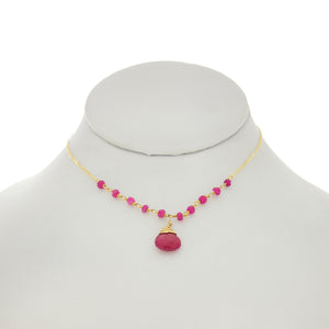 French Pink - Ruby Drop & Rondelles Necklace