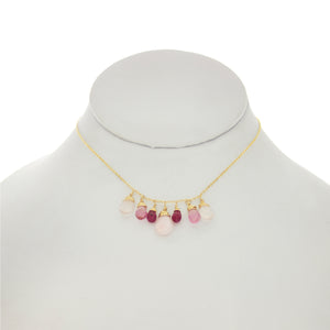 Rose Pompadour - Rubies, Pink Topaz, Rose Quartz Drops Dangle Necklace
