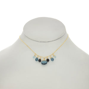 Shades of Blues/Black  - London Blue Topaz, Black Onyx Drop Dangle Necklace
