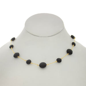 Shades of Blues/Black - Black Onyx Between Chain Necklace