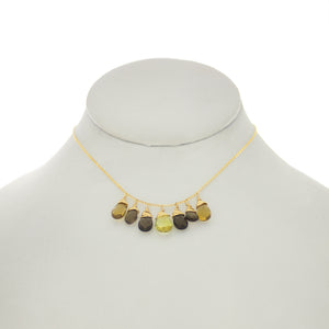 Olivine - Lemon Topaz, Whiskey Topaz, Citrine Drops Dangle Necklace