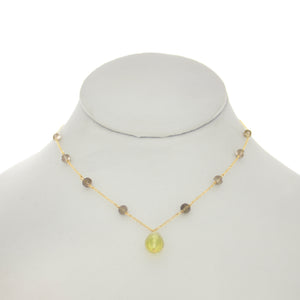 Olivine - Lemon & Smoky Topaz Necklace