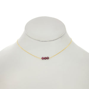 China Rose - Flat Garnet Bar Necklace