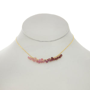 China Rose - Pink Tourmaline, Pink Sapphire, Pink Topaz Rondelles Dangle Necklace
