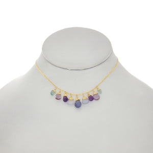 Ultraviolet - Tanzanite, Lavender Blue Chalcedony, Amethyst, Aquamarine Drops Necklace