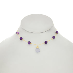 Ultraviolet - Lavender Blue Chalcedny Drop with Amethyst Necklace