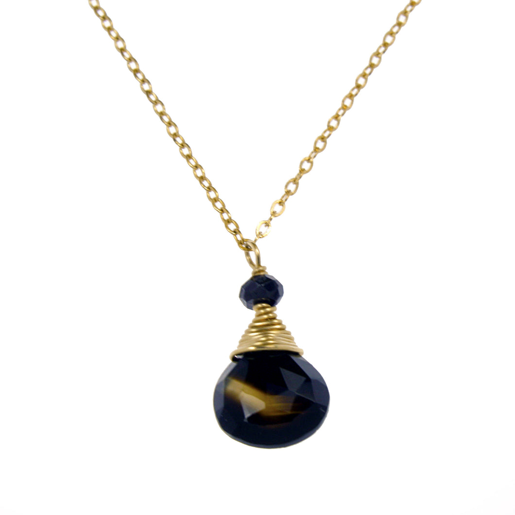 Black Onyx One Drop Necklace