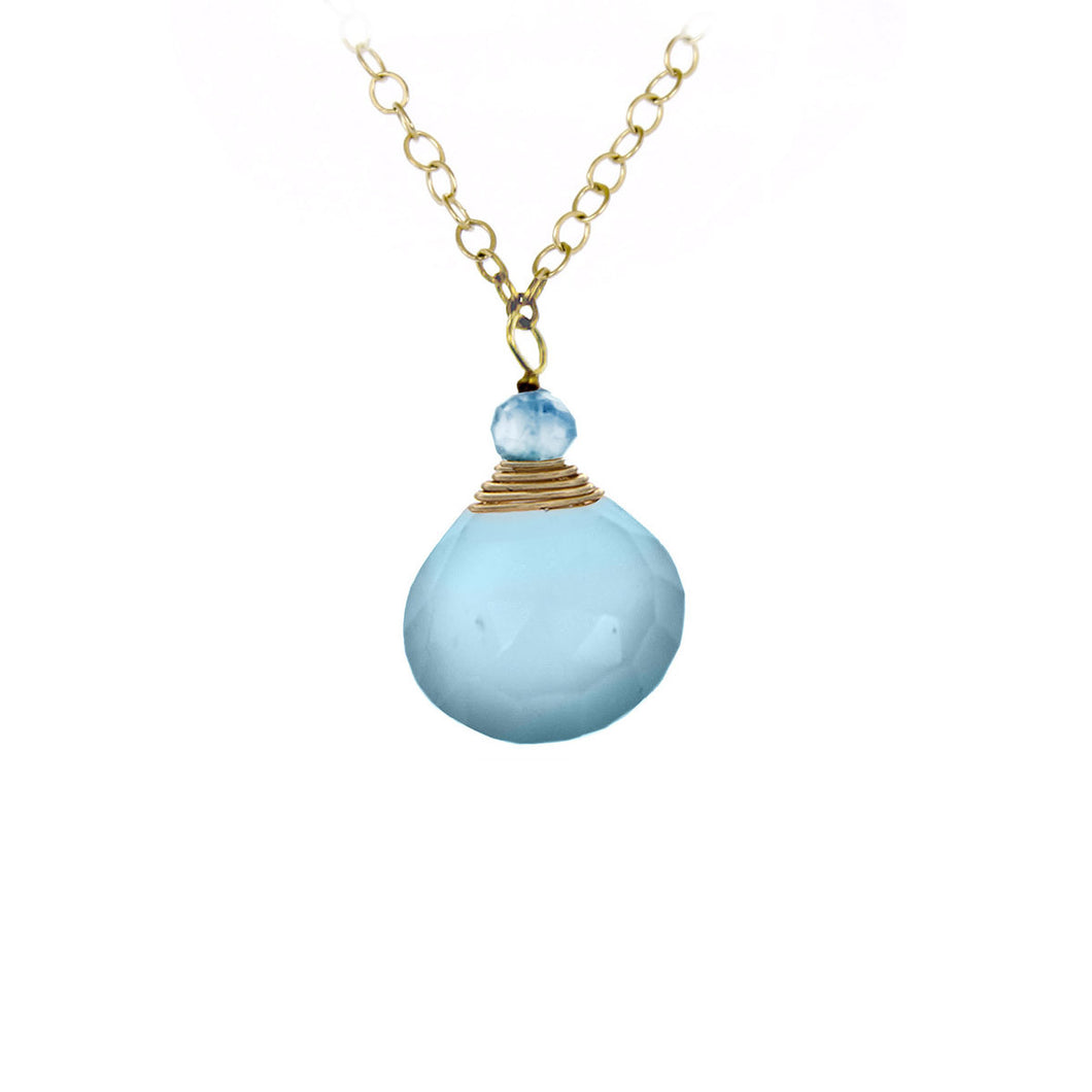 Aqua Chalcedny One Drop Necklace