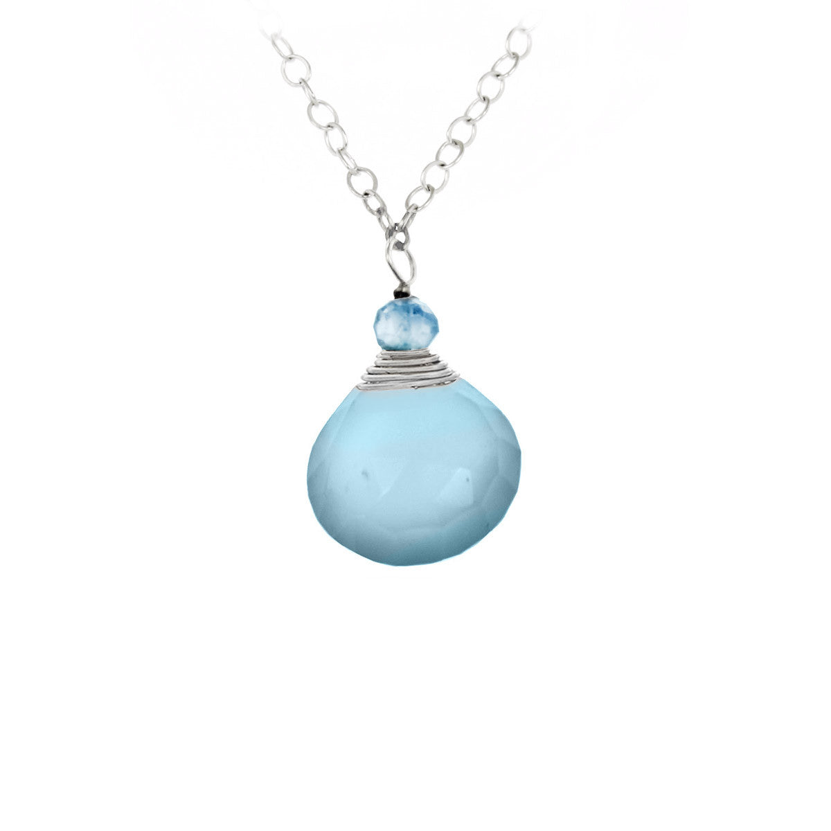 Aqua Chalcedony One Drop Necklace