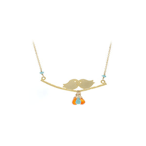 Kissing Birds with Turquoise & Orange Carnelian